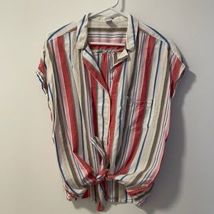 Old Navy Striped Tie-Up Blouse
